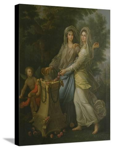 Josephine De Lorraine with Her Sister at the Altar of Friendship by Lorenzo Pecheux--Stretched Canvas Print
