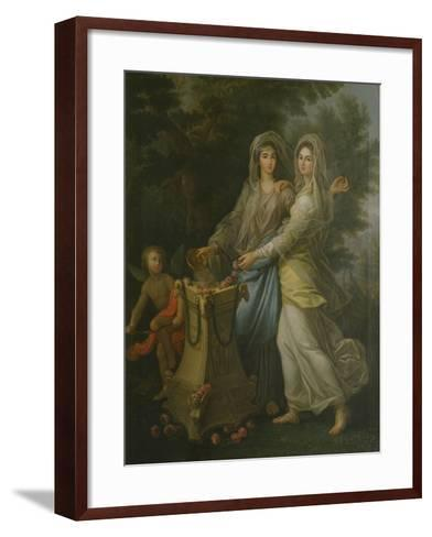 Josephine De Lorraine with Her Sister at the Altar of Friendship by Lorenzo Pecheux--Framed Art Print