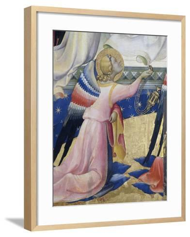 Kneeling Angel, Detail from Central Panel of Coronation of Virgin by Lorenzo Monaco--Framed Art Print