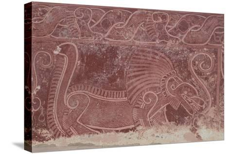 Fresco of Atetelco, Detail of a Jaguar Devouring a Human Heart, Teotihuacan--Stretched Canvas Print