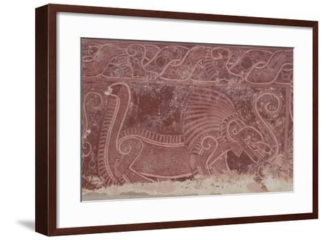 Fresco of Atetelco, Detail of a Jaguar Devouring a Human Heart, Teotihuacan--Framed Art Print