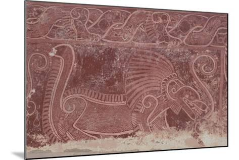 Fresco of Atetelco, Detail of a Jaguar Devouring a Human Heart, Teotihuacan--Mounted Giclee Print
