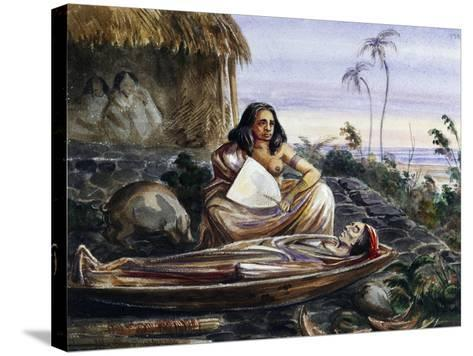 Funeral Wake on Marquesas Islands, Watercolour by Maximilien-Rene' Radiguet--Stretched Canvas Print