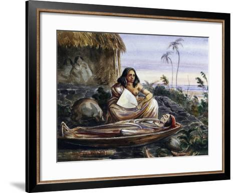 Funeral Wake on Marquesas Islands, Watercolour by Maximilien-Rene' Radiguet--Framed Art Print