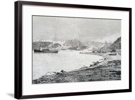 Arriving at Base on Island of Danes, Scene from Account by Salomon August Andree--Framed Art Print