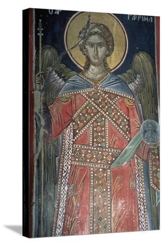 Saint, Fresco, Roussanou Monastery, also known as Agia Varvaras Roussanou Monastery--Stretched Canvas Print