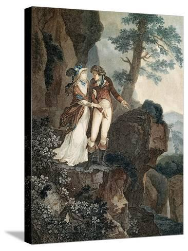 Meillerie's Rock, Illustration from Julie, or New Heloise by Jean-Jacques Rousseau--Stretched Canvas Print