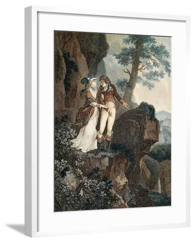 Meillerie's Rock, Illustration from Julie, or New Heloise by Jean-Jacques Rousseau--Framed Art Print