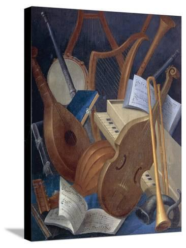 Musical Instruments, Detail from Allegory of Music, Panel Painting by Jean Mosnier--Stretched Canvas Print