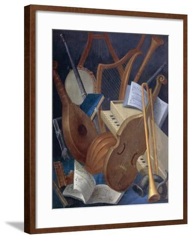 Musical Instruments, Detail from Allegory of Music, Panel Painting by Jean Mosnier--Framed Art Print