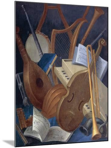 Musical Instruments, Detail from Allegory of Music, Panel Painting by Jean Mosnier--Mounted Giclee Print