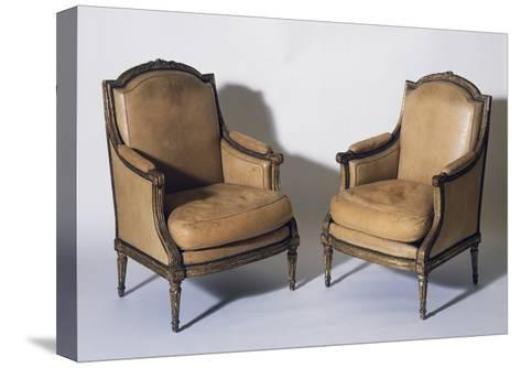 Pair of Louis XVI Style Gilt French Wood Bergeres, Signed by Jean-Baptiste Boulard--Stretched Canvas Print