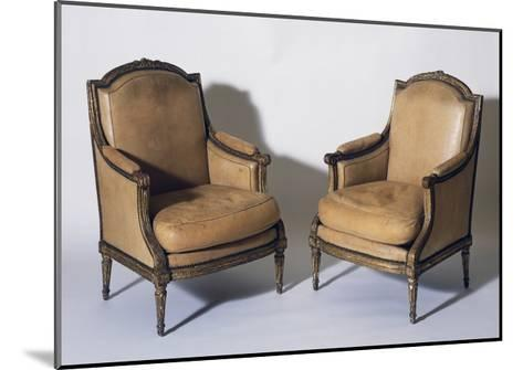 Pair of Louis XVI Style Gilt French Wood Bergeres, Signed by Jean-Baptiste Boulard--Mounted Giclee Print