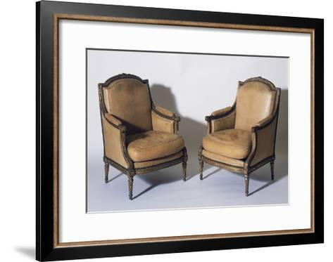 Pair of Louis XVI Style Gilt French Wood Bergeres, Signed by Jean-Baptiste Boulard--Framed Art Print