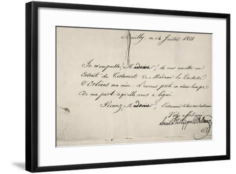 Handwritten Letter by Louis Philippe D'Orleans in Relation to His Mother's Will--Framed Art Print