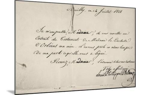Handwritten Letter by Louis Philippe D'Orleans in Relation to His Mother's Will--Mounted Giclee Print
