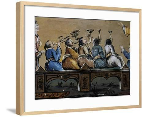 Party in a Square in a Chinese City, Fresco, Chinese Hall, Royal Palace of Portici--Framed Art Print