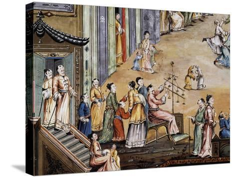 Party in a Square in a Chinese City, Fresco, Chinese Hall, Royal Palace of Portici--Stretched Canvas Print