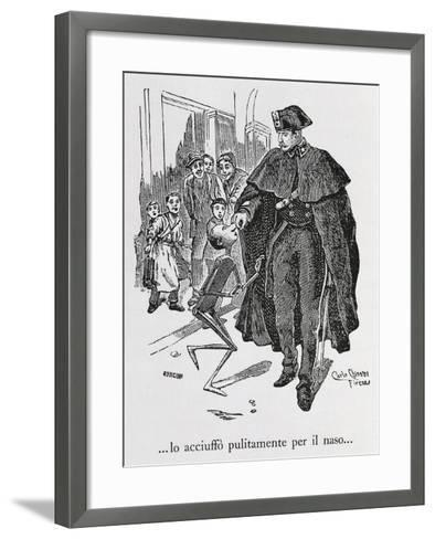 Pinocchio and Policeman, Illustration for Adventures of Pinocchi--Framed Art Print