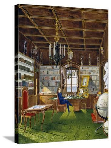 The Library in Villa Lazarovich, Trieste Residence of Maximilian of Habsburg--Stretched Canvas Print