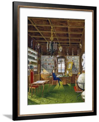 The Library in Villa Lazarovich, Trieste Residence of Maximilian of Habsburg--Framed Art Print