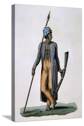 Guebe Island Warrior, Moluccas, Engraving by Roger from Drawing by Jacques Arago--Stretched Canvas Print