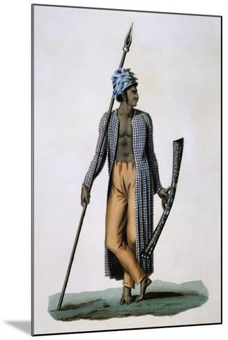 Guebe Island Warrior, Moluccas, Engraving by Roger from Drawing by Jacques Arago--Mounted Giclee Print