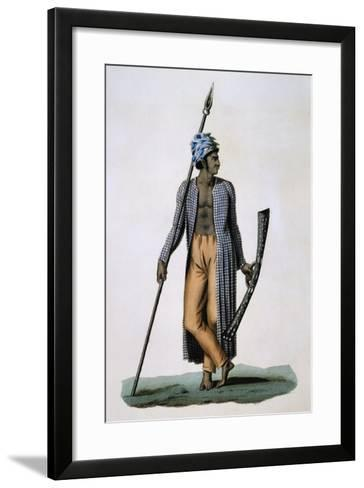 Guebe Island Warrior, Moluccas, Engraving by Roger from Drawing by Jacques Arago--Framed Art Print