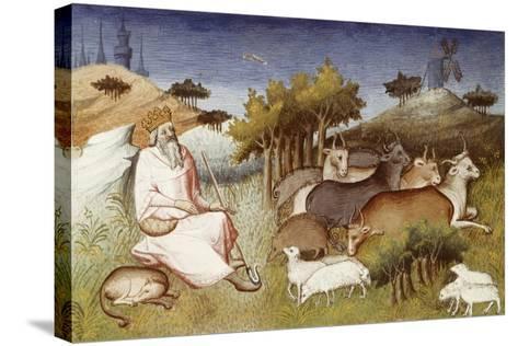 King Dor Watching over His Flock, Miniature from Livre Des Merveilles Du Monde--Stretched Canvas Print