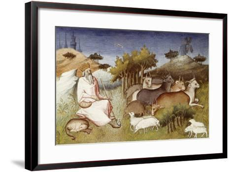 King Dor Watching over His Flock, Miniature from Livre Des Merveilles Du Monde--Framed Art Print