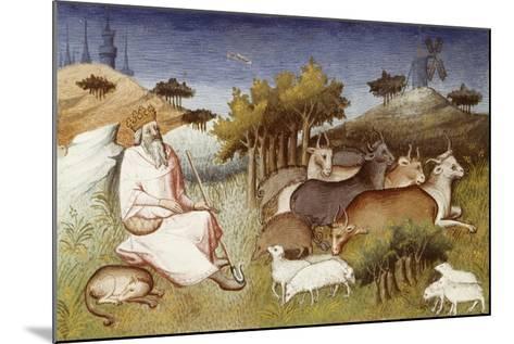 King Dor Watching over His Flock, Miniature from Livre Des Merveilles Du Monde--Mounted Giclee Print