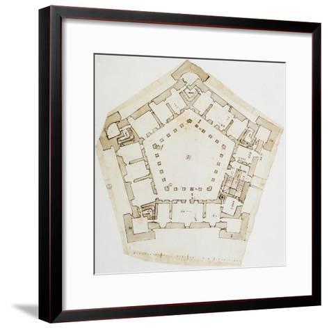 Plan of Villa Farnese in Caprarola, Near Viterbo, Design by Baldassarre Peruzzi--Framed Art Print