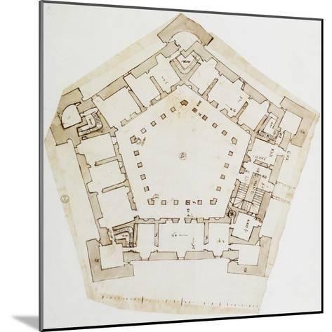 Plan of Villa Farnese in Caprarola, Near Viterbo, Design by Baldassarre Peruzzi--Mounted Giclee Print