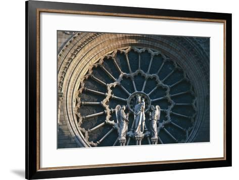 Madonna and Child with Two Angels, Rose Window on the West Facade, Notre-Dame Cathedral--Framed Art Print