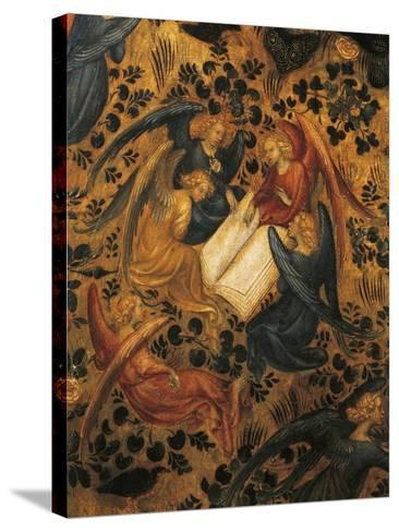 Angels Arguing, Detail from Madonna of Rose Garden, 1420-1435, Attributed to Stefano Da Verona--Stretched Canvas Print