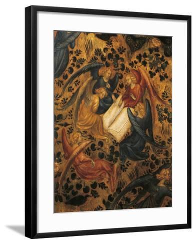 Angels Arguing, Detail from Madonna of Rose Garden, 1420-1435, Attributed to Stefano Da Verona--Framed Art Print