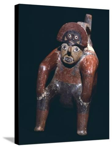 Vase in the Form of a Man Sitting with a Mask on His Head, Artifact Originating from Nazca--Stretched Canvas Print