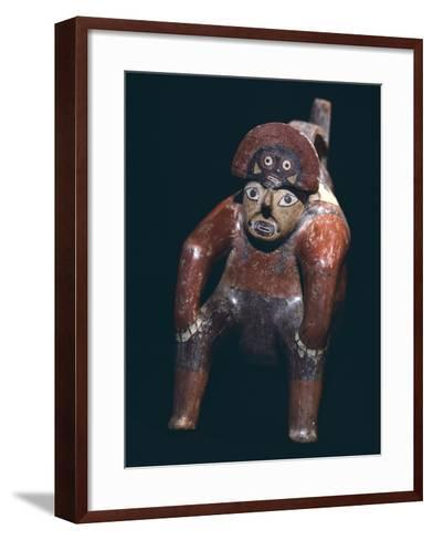 Vase in the Form of a Man Sitting with a Mask on His Head, Artifact Originating from Nazca--Framed Art Print