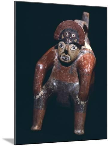 Vase in the Form of a Man Sitting with a Mask on His Head, Artifact Originating from Nazca--Mounted Giclee Print