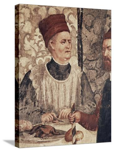 Head Chef of Malpaga Castle or Food Taster, Detail from Fresco Attributed to Marcello Fogolino--Stretched Canvas Print