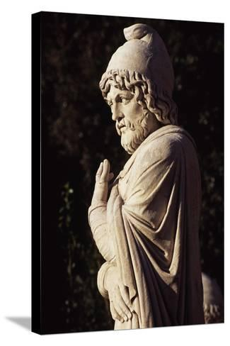 Italy, Lazio, Rome, Statue in Eastern Exedra of Piazza Del Popolo, Designed by Giuseppe Valadier--Stretched Canvas Print