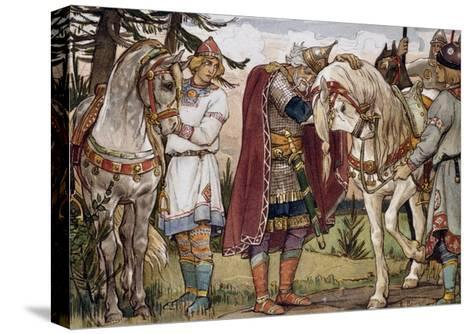 Oleg's Farewell to His Horse, from Song of Oleg Wise, Illustration by Vasnetzov Victor--Stretched Canvas Print