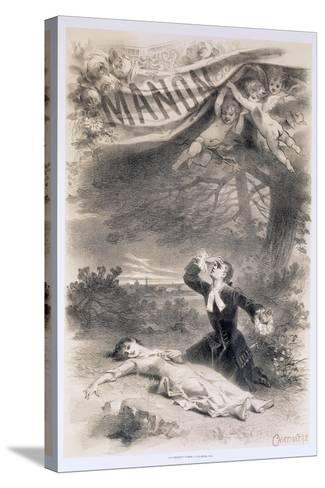 France, Paris, Playbill by Antonin Marie Chatiniere of the Opera Manon--Stretched Canvas Print