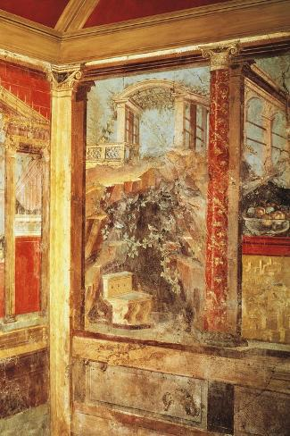 Detail of Fresco Depicting View of Palaces, from Passage in Roman Villa in Boscoreale--Stretched Canvas Print