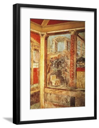 Detail of Fresco Depicting View of Palaces, from Passage in Roman Villa in Boscoreale--Framed Art Print