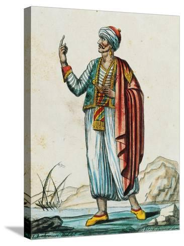 Male Costume from Barbarian and Muslim States, Color Engraving from Drawing by Labrousse--Stretched Canvas Print