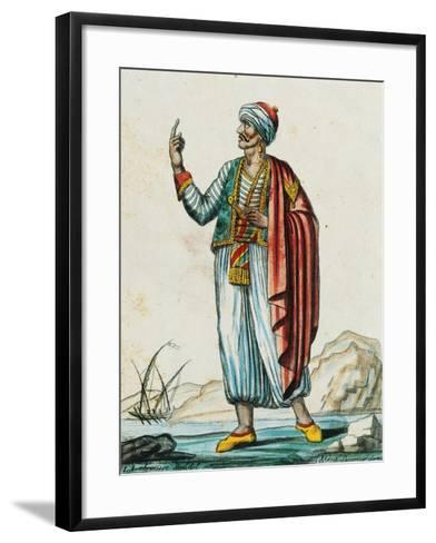 Male Costume from Barbarian and Muslim States, Color Engraving from Drawing by Labrousse--Framed Art Print