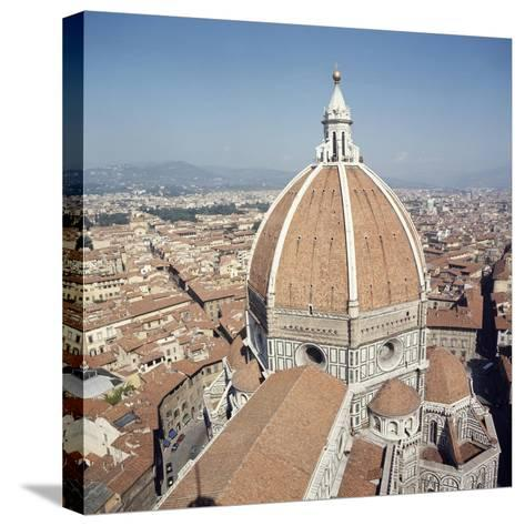 Brunelleschi's Dome in Cathedral of Santa Maria Del Fiore or Basilica of St Mary of Flower--Stretched Canvas Print