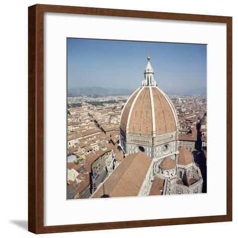 Brunelleschi's Dome in Cathedral of Santa Maria Del Fiore or Basilica of St Mary of Flower--Framed Art Print