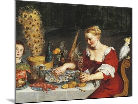 Woman Eating Oysters, Detail from Allegory of Four Elements, Jan Bruegel Elder, Velvet Bruegel--Mounted Giclee Print